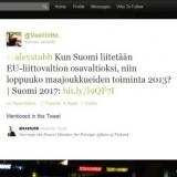 Suomen maajoukkueiden lopettamisesta kysymys kokoomuksen Alexander Stubbille