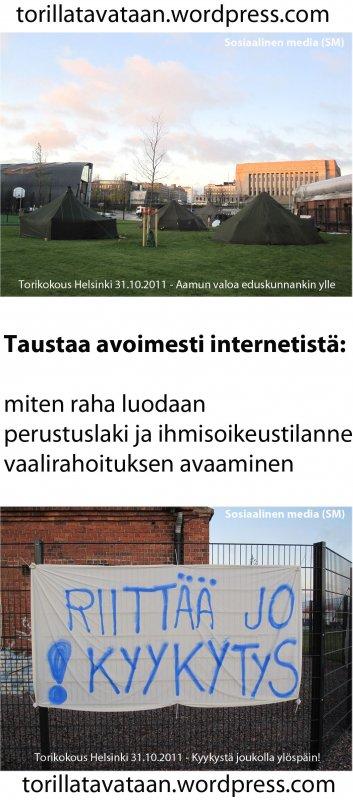 Torikokous Helsingissä (Occupy Helsinki) 31.10.2011 jatkuu 60/24/7