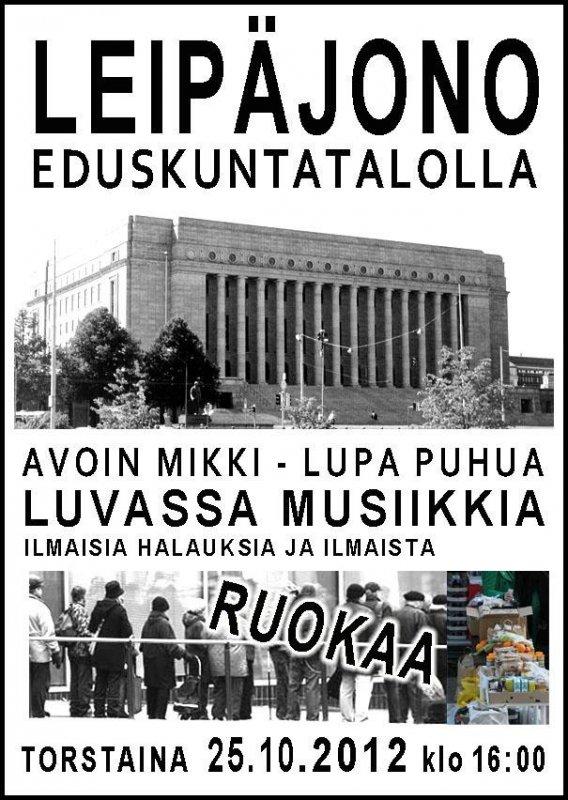 Leipäjono Eduskunta-talolla 25.10.2012