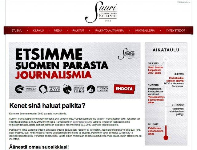 Suurin journalismipalkinto vuonna 2012 menee....