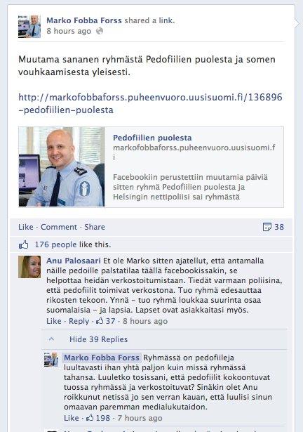 Anu Palosaaren sekoilua Fobban Facebook-seinällä. https://www.facebook.com/marko.f.forss/posts/619644028064393