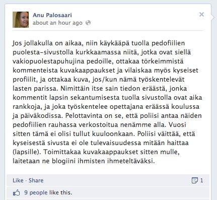 Anu Palosaaren sekoilua Fobban Facebook-seinällä. https://www.facebook.com/anu.palosaari/posts/10201063935784325
