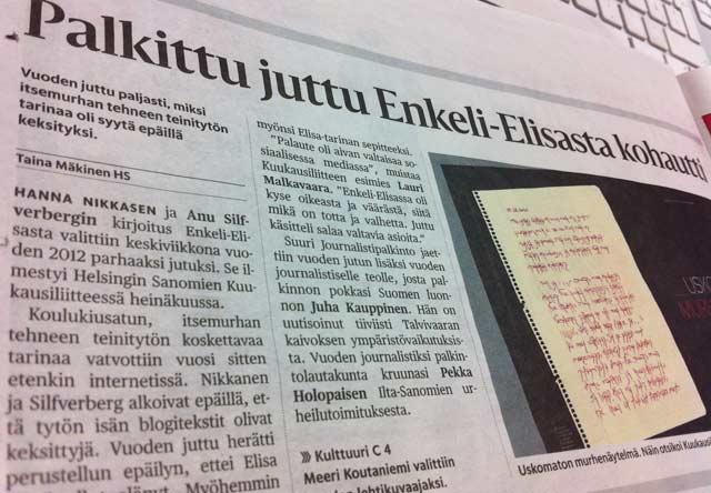 Hesarin Kuukausiliitteen jutun hehkutukselle riitti tilaa. Enkeli-Elisa-juttu oli tosin palkintonsa ansainnut.