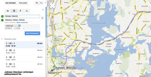 Hsl N Reitit Nyt Myos Googlen Kartoissa