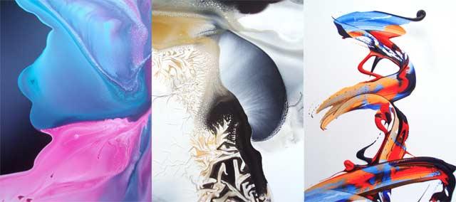 Ruson maalausjälki on unenomaista maisemaa. Kuvassa detaljit kolmesta maalauksesta.