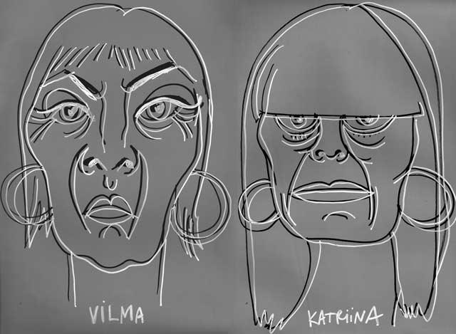 Muotokuvissa Katriina Haikala ja Vilma Metteri. Teetä omasi Tärähtäneiden ämmien pop up -kaupassa.