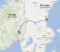 Söderhamnista Osloon kertyy matkaa muutamia satoja kilometrejä.