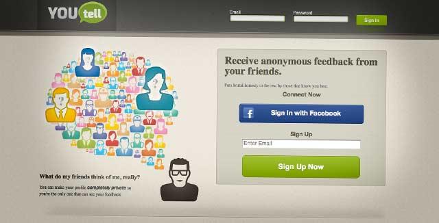 YouTellin ulkoasu ja brändi ratsastaa tutulla sosiaalisen median fiiliksellä.