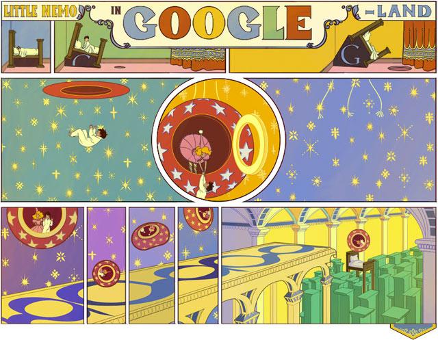 Animoitu kuvituskuva suurenee Googlen etusivulla nuolesta klikkaamalla.