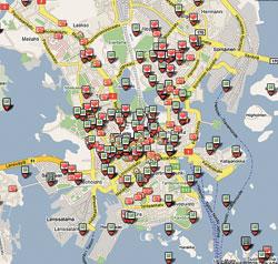 Zoomaa karttaa City.fi:ssä, ja näet käyttäjien sisällöt suppealtakin alueelta.