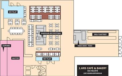 1.krs café & bakery, 550 neliötä, 160 asiakaspaikkaa