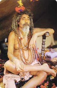 Vishnu-sadhun tunnistaa kolmesta pystyraidasta.