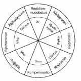 Defenssimekanismit ja perustunteet kehämallissa (Plutchik ym).