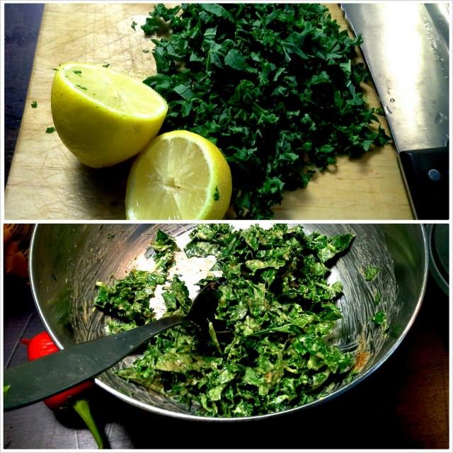 Supernopea Superfood -lisuke: lehtikaalisilppua mantelitahna-sitruunamehu-oliiviöljy-vaahterasiirappikastikkeessa