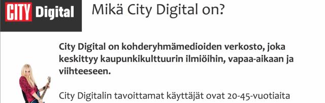 City Digital -banneriesimerkki. Tämä banneri ei sisällä klikkausmahdollisuutta, eikä ole siten mitattavissa. Tehoaa silti sinuun ja altistaa oppimiselle.