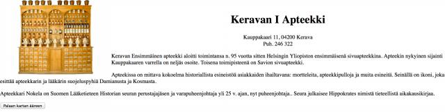 Ensimmäinen sisältömarkkinoinnin toteutukseni vuodelta 1995. Kerava -peli nimeltä Kaavut Keravalla. Mainostaja Keravan 1 Apteekki maksoi mainoksesta 500 mk.