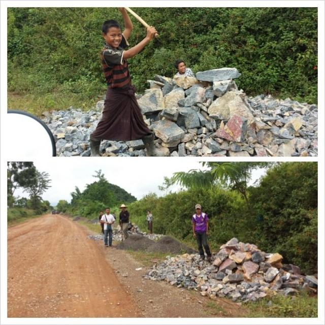 Työnteko voi olla myös hauskaa. Tietyömaa Myanmarissa.