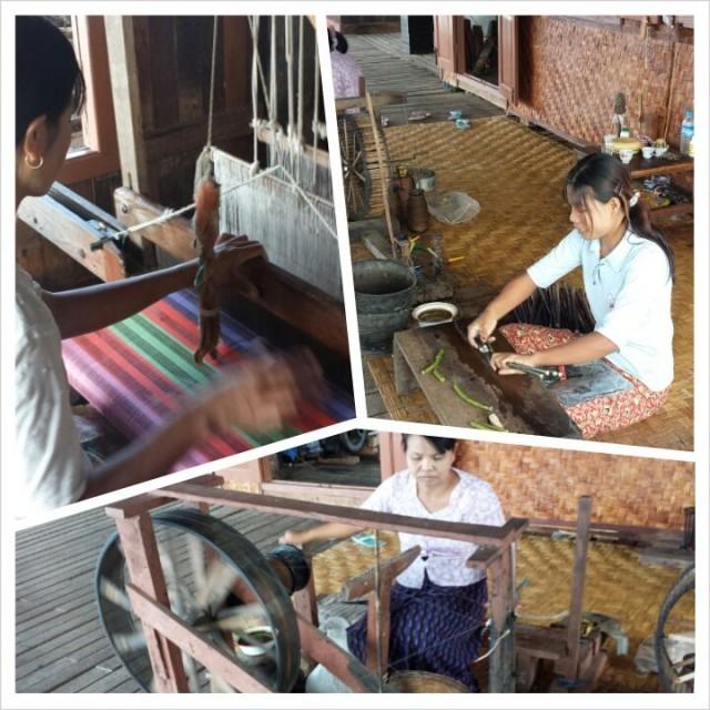 Lootuksenkukkasilkkitehdas Burma / Myanmar Inle Lake