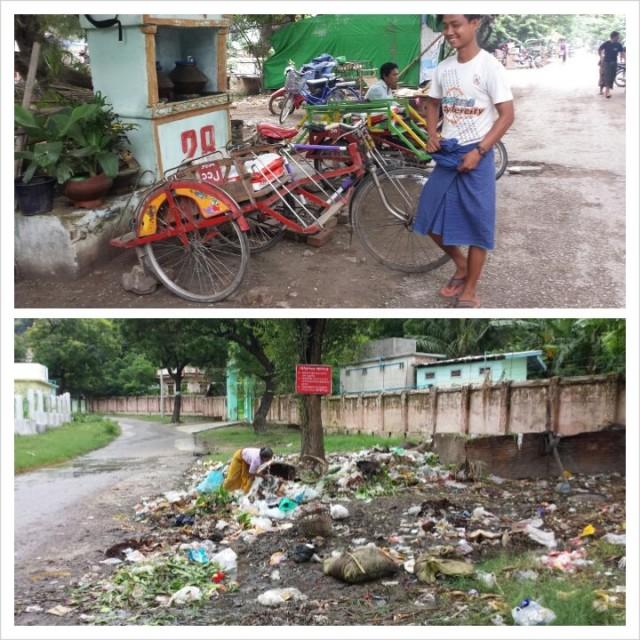 Polkupyörät rakennetaan ties mistä osista. Käsityötä arvostetaan Burmassa.