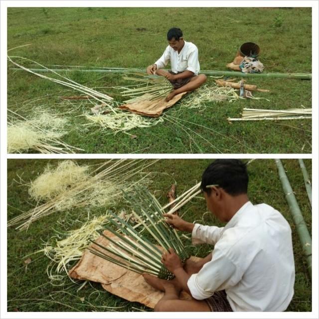 Kun Myanmarissa menee ulos kaupungeista, näkee oikeata burmalaiselämää. Kuvassa mies punoo bambukoria.