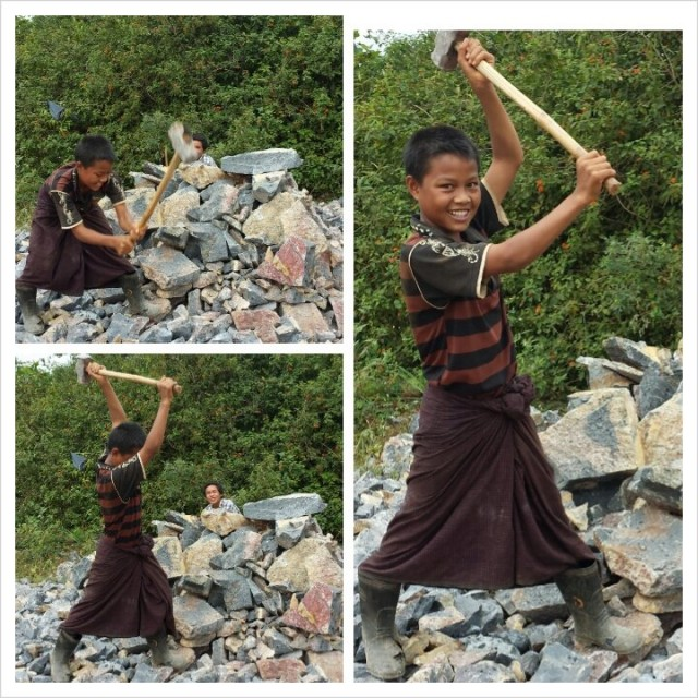 Quess how old is this hard working happy boy. Road work in Myanmar 2013.