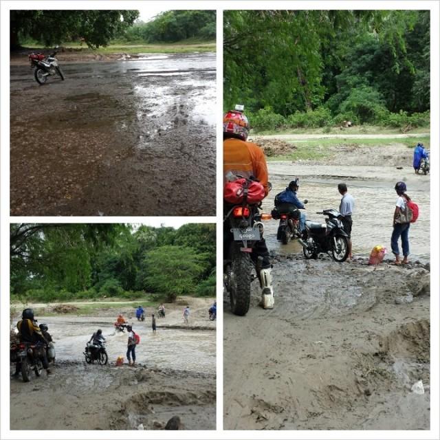 Tässä kohtaa ei normaalisti ole jokea. Nyt on. Myanmar.  Burma. Monsuunisade.