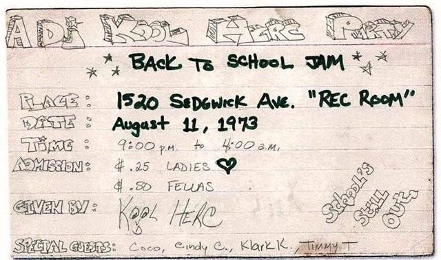 Ensimmäisten hip hop -bileiden flyer vuodelta 1973.