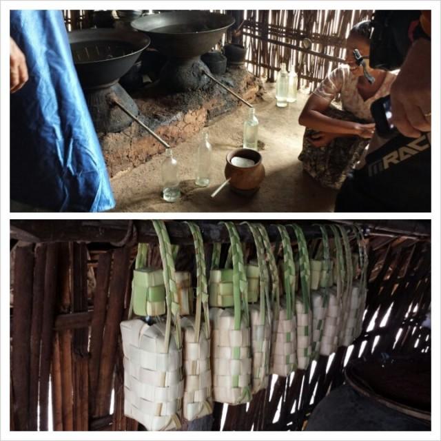 Pontikkapannulla tehdään palmuviinaa. Pullot kierrätyspulloja joissa bambukoriste.