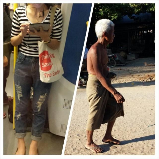 Kontrasteja. Vasemmalla Bangkokista ja oikealla elämää burmasta.