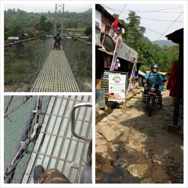 Sillan ylitys onnistuu myös moottoripyörällä Nepalissa.