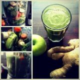 Kurkkua, porkkanaa, lehtikaalia, viherjauhetta, banaania, inkivääriä ja omenaa + surrur = NAM!