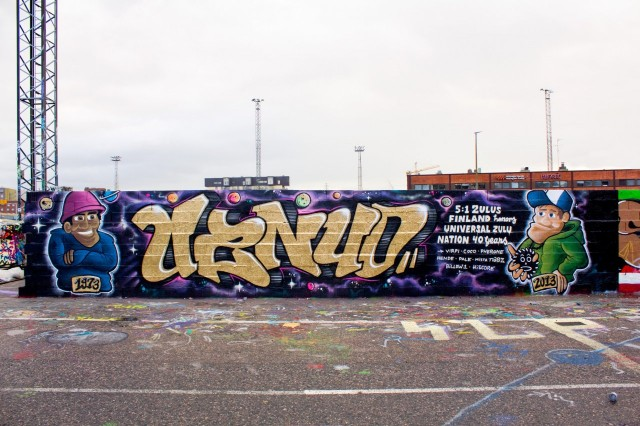 Universal Zulu Nation on hip hopin eri osa-alueita yhdistävä yhteisö, jolla on ikää jo 40 vuotta. 40-vuotispiissi Suvilahdessa, maalaajina Pher, Hende ja HiScore, 2013.