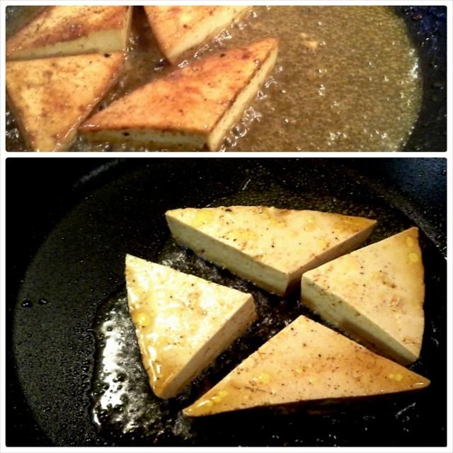 Paista tofu ensin rapeaksi, ja kaada päälle lopuksi marinadi redusoitumaan siirapiksi.