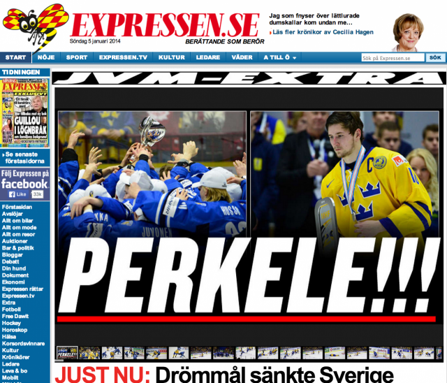 Expressen -lehti pikkuleijonien voitosta: Perkele!!
