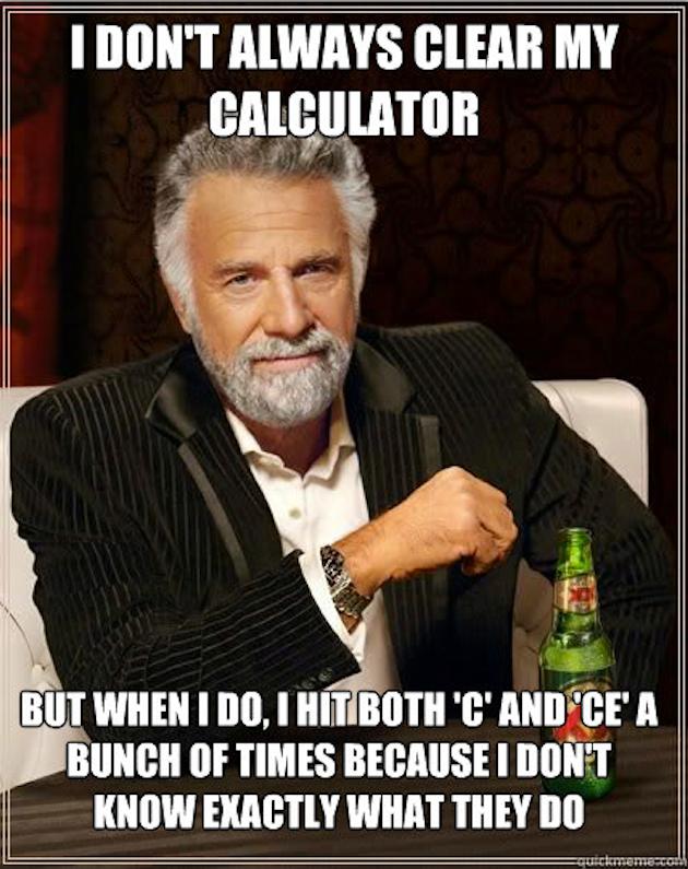 Mitä tarkoittavat laskimen käyttöliittymässä C ja CE? Painan varmuuden vuoksi molempia monta kertaa.