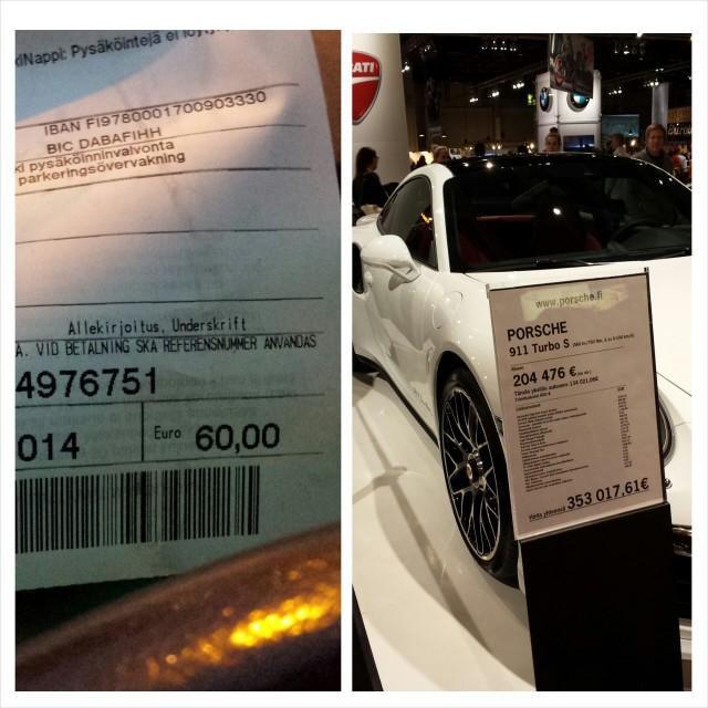 Moottoriurheiluun kuuluu luonteeltaan kova verotus ja silloin tällöin otettavat sakot. Mitä mieltä olet onko Porchen 134021 euron autovero kohdillaan? MP hengessä nappasin messujen aikana parkkisakot. Rahaa kaupunkiki tarvii kato.