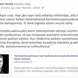 Helsinkiläinen kaupunginvaltuutettu Erkki Perälä (vihr.) analysoi pastori Ryösän homosaatiohuolia.