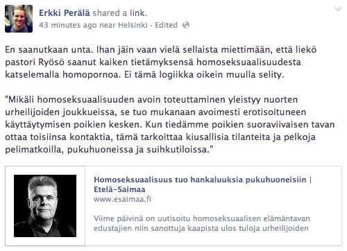 Helsinkiläinen kaupunginvaltuutettu Erkki Perälä (vihr.) analysoi pastori Ryösön homosaatiohuolia.