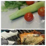 Lohta salaattipedillä. Tykkään laittaa salaatit valmiiksi lautaselle ja sitten kalat perään melkein suoraan uunista.