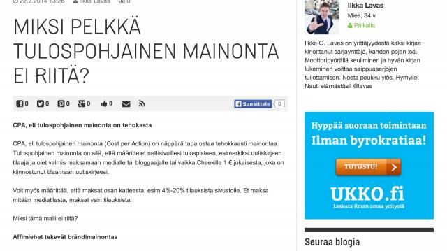 Ukko.fi aloitti tulospohjaisella mainonnalla, mutta on alkanut mainostamaan brändiänsä ja lisäämään palvelun tunnettuutta relevanteissa ympäristöissä. Tähän blogiin mainos näköjään tulee AdExchangen kautta targetoituna.