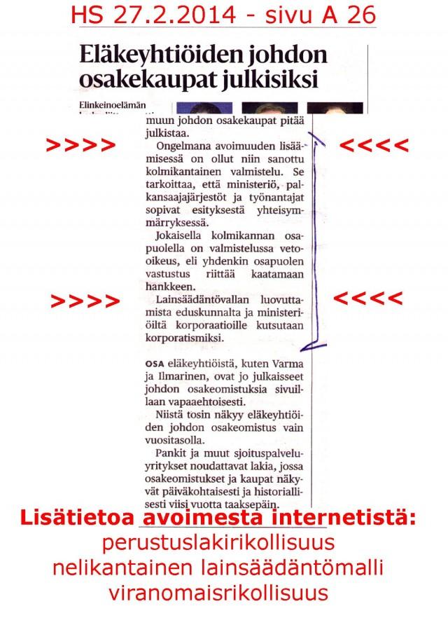 Perustuslain vastainen nelikantainen lainsäädäntömalli Suomessa 2014.