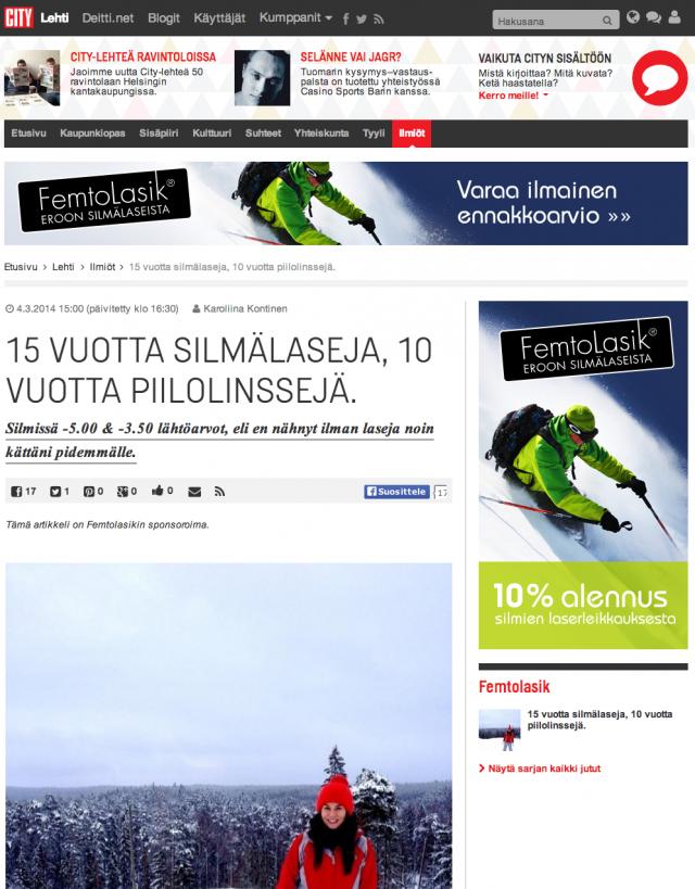Natiivi mainos kertoo rehellisesti kuka mainoksen on maksanut. Tämä kuvan esimerkki kertoo artikkelin olevan FemtoLasik:in sponsoroima.