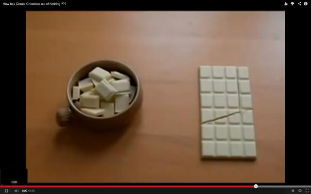 Videolla opastetaan miten voit napata palan suklaata ilman, että kukaan huomaa mitään.