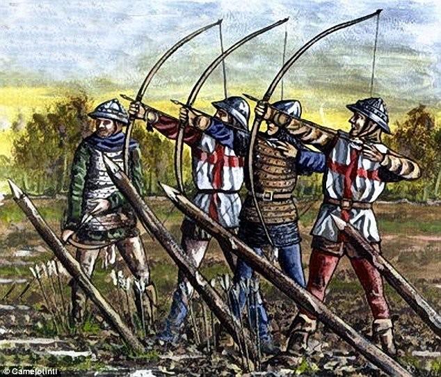 Englantilaisia pitkäjousimiehiä Agincourtin taistelussa. Kaikki sormet tallella.