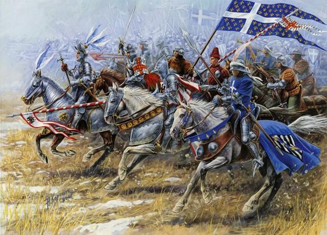 Ranskalaisia ritareita parhaimpiinsa sonnustautuneina, vain hetkeä ennen kuin pataan tuli ja pahasti.