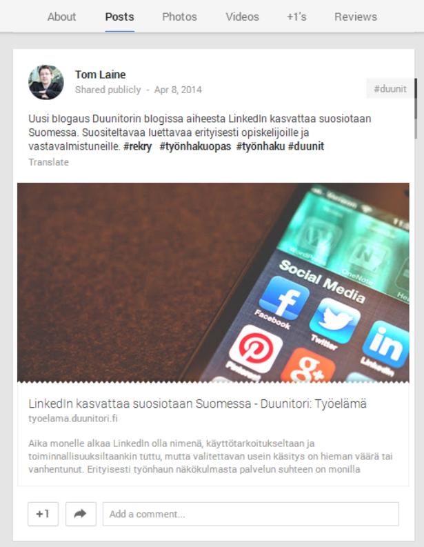 Google Plussan merkitys kasvaa