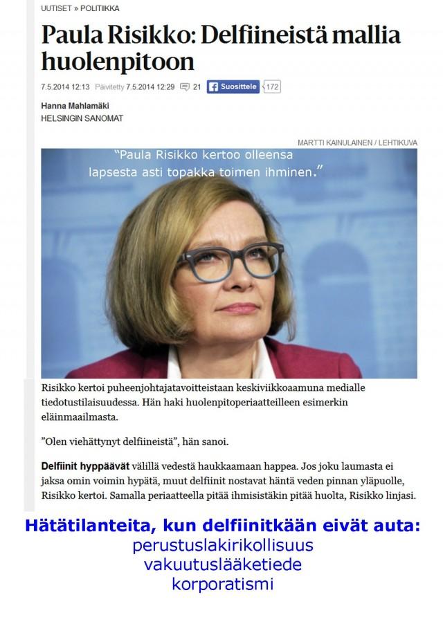 Suomen uusi pääministeri? Risikko. Paula Risikko.