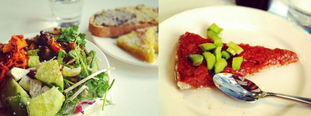 Luksuslounas: salaattibuffet & raparperi-mansikka-raakapiirakka