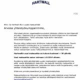 Hartwall kohtelee pieniä tavarantoimittajia niin huonosti kuin mahdollista. Pienyrittäjälle tällainen ilmoitus saattaa olla kohtalokas.