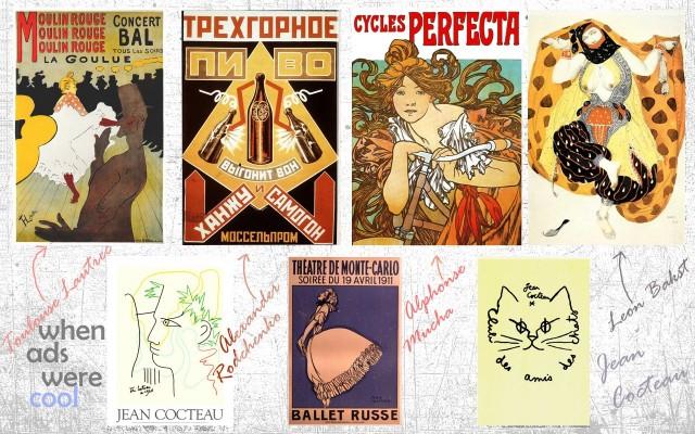 Lautrec, Rodcfhenko, Mucha, Bakst, Cocteau